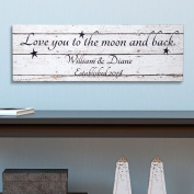 Personalised Love You To the Moon and Back Canvas, 23cm x 70cm