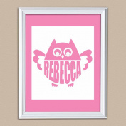 Personalised Owl Baby Name Print, 28cm x 36cm