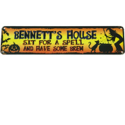 Personalised Sit for a Spell Halloween Sign, 13cm x 50cm