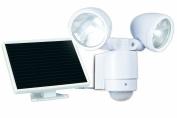 Maxsa Innovations 44418 Motion-Activated Dual-Head Solar LED Spotlight, White