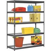Edsal 150cm W x 60cm D x 200cm H Five-Shelf Heavy-Duty Steel Shelving Unit, Black