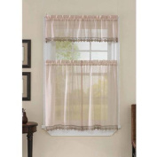 CHF & You Leanne 90cm Tailored Tiers Antique Curtain, Beige