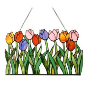 Tulip Design Stained Glass Window Panel