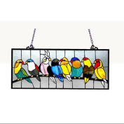 Birds Design Art Glass Window Panel with Bronze Finish