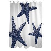 Thumbprintz Nautical Nonsense Blue White Starfish Shower Curtain, 180cm x 190cm