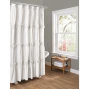 Essential Living Darla White Shower Curtain