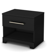 South Shore Primo 1-Drawer Nightstand, Pure Black