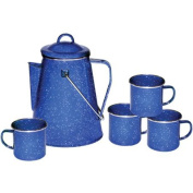 Stansport 11230 Enamel 8-Cup Coffee Pot with Percolator and Four 350ml Mugs