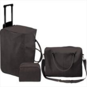 Manual Woodworkers and Weavers ILLGBL Ij Black Micro Suede 3 Piece Luggage Set Roll-On Traveller Carry- On Micro Suede 19