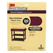 3M SandBlaster Sandpaper with NO-SLIP GRIP Backing, 7.6cm - 1.7cm x 23cm , 120 grit, 5 sheets/pk