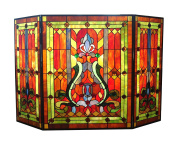 River of Goods Stained Glass Fireplace Screen