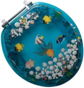Comfort Seats C1B6R9-AQCH Acrylic Toilet Seat with a Closed Front and Chrome Hinges, Aquarium
