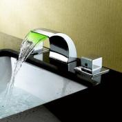 Sumerain International Group Double Handle Widespread LED Waterfall Bathroom Sink Faucet