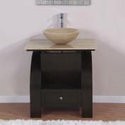 80cm . Kallista Single Sink Bathroom Vanity in Dark Walnut