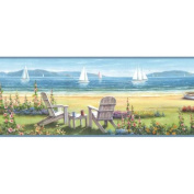 Brewster Home Fashions Borders by Chesapeake Regatta Seaside Cottage Portrait Border Wallpaper