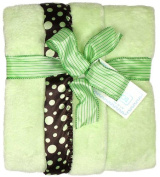 Dee Givens and CoRaindrops 1173 Raindrops 1173 Unisex Sage Flurr with Brown Dots Receiving Blanket