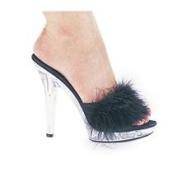 Ellie Shoes 13cm Heel Maribou Slipper Sasha White 11, 11