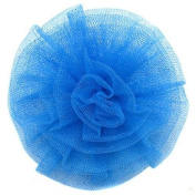 Reflectionz Turquoise Sparkle Mesh Rolled Rosette Hair Clippie