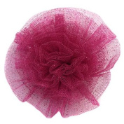 Reflectionz Magenta Sparkle Mesh Rolled Rosette Hair Clippie Accessory