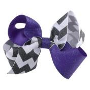 Reflectionz Black White Chevron Purple Sparkle Medium Hair Clippie