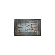 J and M Home Fashions Pebbles and Border Printed Flock Doormat