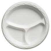 Genpak Aristocrat Plastic Plates, 26cm , White, Round, 3 Compartments, 125/Pack