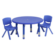 Flash Furniture 80cm Round Adjustable Plastic Activity Table Set in Multiple Colours with 2 School Stack Chairs