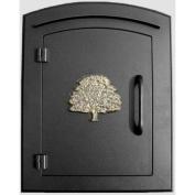 QualArc MAN-1404-BL Manchester Oak Tree Logo Door Column Mount Mailbox - Black