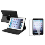 Insten Black 360 Swivel Leather Case+LCD Screen Protector Film For Apple iPad Mini 3 / 1 / 2 with Retina Display