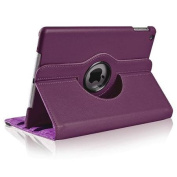 Insten For Apple iPad Air 360 Rotating Swivel Stand Leather Case, Purple