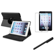 Insten For Apple iPad Mini 3 / 2 with Retina Display 360 Degree Rotating PU Leather Case Cover w Swivel Stand Black