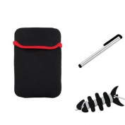 Insten Black Sleeve Case Bag + Stylus + Fishbone Wrap For Apple iPad Mini 3rd / 2nd Retina Display / 1st Gen