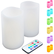LumaBase Luminarias Remote Control LED Candles, Multi-Colour, 2-Count