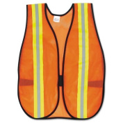 Crews Reflective Fluorescent Safety Vest - Visibility Protection - Polyester, Fabric - 1 Each - Orange, Silver