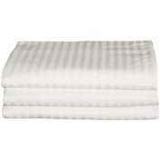 Baltic Linen Hotel/Hospitality Cotton Rich Easy Care Flat Sheets, 3-Pack, White Woven Stripe