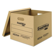 Bankers Box SmoothMove Classic Medium Moving Boxes, 18l x 15w x 14h, Kraft/Blue, 8/Carton