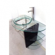 Kokols 80cm Wall Mount Tempered Glass Vessel Sink Bathroom Vanity Set