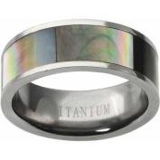 Daxx Men's Abalone Inlay Titanium Panel Fashion Ring, 8mm