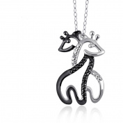 JewelersClub Black and White Diamond Accent Giraffe Pendant