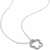Miabella Diamond Accent Sterling Silver Flower Pendant, 46cm
