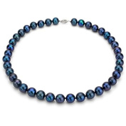 """Jacqueline's Ultra-Lustre 8-9mm Black Genuine Cultured Freshwater Pearl 18"""" Necklace and Sterling Silver Filigree Clasp"""