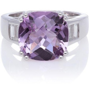 Amethyst Cushion-Cut with White Topaz Baguettes Sterling Silver Ring, Size 7