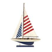 60cm Patriotic Americana Flag Sailboat Nautical Tabletop Accent