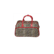 All-Seasons 812014-168-R 50cm Leopard Print Carry-On Shoulder Tote Duffel Bag, Red Trim
