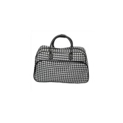 All-Seasons 812014-606-B-W 50cm Houndstooth Print Carry-On Shoulder Tote Duffel Bag, Black Trim