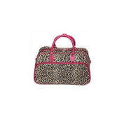 All-Seasons 812014-168-F 50cm Leopard Print Carry-On Shoulder Tote Duffel Bag, Pink Trim
