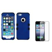 INSTEN Titanium Dark Blue/Black TUFF Hybrid Phone Hard Case Cover For iPhone 5 5s+Film Protector