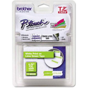 for Brother P-Touch TZ Standard Adhesive Laminated Labelling Tape, 1.3cm x 5m, White/Lime Green
