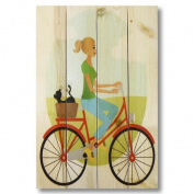 Gizaun Art Wile E. Wood Bike Girl Wall Art in Red
