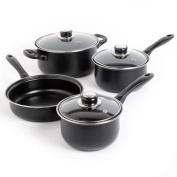 Gibson Sunbeam Newbrook 7-Piece Non-Stick Cookware Set, Black